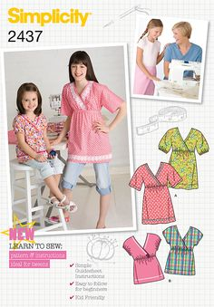 sewing projects by daisy kingdom | Childs / girls top Sewing Pattern 2437 Simplicity
