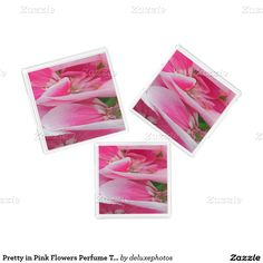 Pretty in Pink Flowers Perfume Tray Set of Three