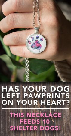 Custom designed as a one of a kind piece of art by an elite artist, the watercolor paw necklace is a symbol of the impression our dogs leave on our hearts.  Designed to rest near your heart, this necklace goes above and beyond as the purchase also feeds 10 shelter dogs who are waiting to fill someone else's heart. Their need, like your love for your pup is real and your contribution makes a huge difference.  Hurry now! - QUANTITIES ARE EXTREMELY LIMITED!