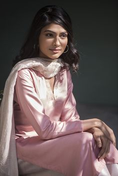 WINTER EDIT Delicate embroideries accentuate this traditional ensemble in pastel-toned silk and chanderi. #GoodEarthSustain