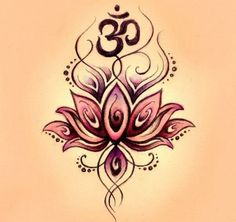 Lotus om tattoo-- That design would be a nice addition to my Ohm if I ever decided to jazz it up. Ohm Tattoo, Om Symbol Tattoo, Namaste Tattoo, Buddha Lotus Tattoo, Ohm Symbol, Tattoo Music, Sternum Tattoo, Yoga Tattoos, New Tattoos