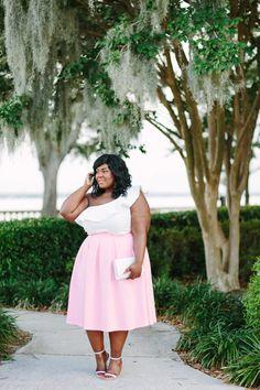Musings of a Curvy Lady, Plus Size Fashion, Fashion Blogger, Style Blogger, Plus Size Model, Eloquii, Ruffles, Pink Peonies, #XOQ, Style Hunter, The Outfit, Women's Fashion, Pink Skirt, Sam Edelman, MAC Modern Romance