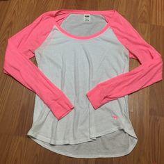 vs pink baseball tee minor pulling but unnoticeable - hot pink sleeves PINK Victoria's Secret Tops Tees - Long Sleeve