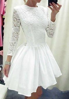 Long Sleeves Princess White LaceTaffeta Skirt Short Wedding #Short Homecoming Dress#HomecomingDresses#Short PromDresses#Short CocktailDresses#HomecomingDresses