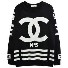 chanel inspired no. 5 coco sweatshirt | women's urban fashion & streetwear | 7twentyfour.com ($62) found on Polyvore