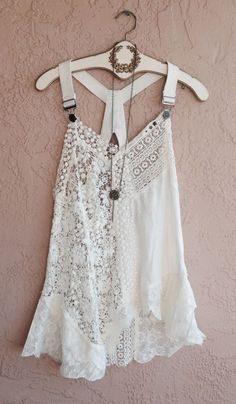 Free People Rare crochet lace overall strap hi low gypsy camisole