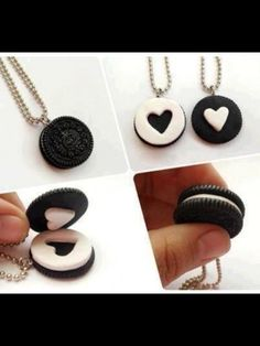 Schlüsselanhänger oreo bff present Geschenkidee Best friend heart necklace as symbol of the relationship can't be described by words, and the closest thing you can get from having this kind of relationship described in words, is through the necklace. Cute Polymer Clay, Cute Clay, Polymer Clay Charms, Diy Clay, Clay Crafts, Bff Necklaces, Best Friend Necklaces, Friendship Necklaces, Best Friend Jewelry