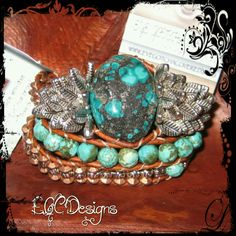 "EGC Gallery Collection ""Turquoise Focal"" Leather Triple Wrap Bracelet  www.eyegotchacovered.info  #EGCdesign #BohoChic #SouthwestInspired #Love #BohoChic #DesignYourOwnLife  #SupportYourLocalArtists"