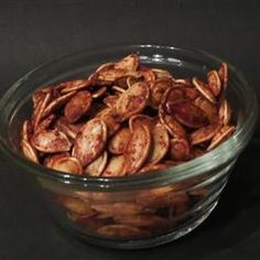 Roasted Cinnamon Spice Pumpkin seeds: 1 tbsp sugar, 1 tsp cinnamon, 1/2 tsp ginger, 1 cup raw pumpkin seeds roasted for 40-ish minutes at 325 in the oven