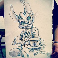 Anime Alice in Wonderland Tattoos Creepy Drawings, Creepy Art, Cool Drawings, Tattoo Drawings, Pencil Drawings, Arte Horror, Horror Art, Cheshire Cat Drawing, Wonderland Tattoo