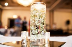 Must have babys breath in water with floating candle! Floating Candle Centerpieces, Vases Decor, Wedding Centerpieces, Vase Decorations, Wedding Decorations, Centrepieces, Centerpiece Ideas, Wedding Flowers, Wedding Colors