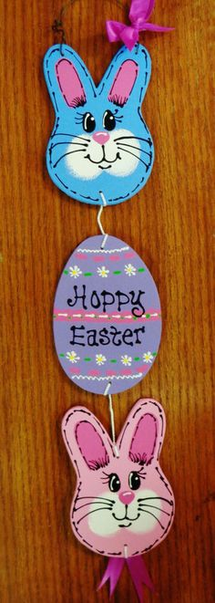 HOPPY EASTER HANGER Bunny Rabbit Egg Door Wall SIGN Holiday Seasonal Plaque…