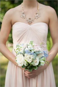 soft blue pink and white bridesmaid bouquet #bouquet #bridesmaid #weddingchicks http://www.weddingchicks.com/2014/02/06/simple-comforts-wedding-inspiration/