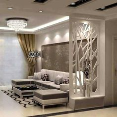 Have you thought about having a screen in your home decor? See more screens inspirations in maiso… Living Room Partition Design, Living Room Divider, Room Partition Designs, Living Room Tv Unit Designs, Ceiling Design Living Room, Home Room Design, Home Interior Design, Wood Partition, Foyer Design
