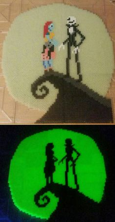 Jack and Sally (Perler Bead) by BoredomCircle Perler Bead Templates, Diy Perler Beads, Perler Bead Art, Pearler Beads, Perler Bead Designs, Melty Bead Patterns, Pearler Bead Patterns, Perler Patterns, Beading Patterns