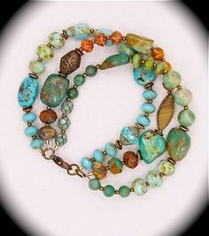 One-of-a-kind three strand natural turquoise bracelet . so long as you use complimentary colors, mixed bead shapes/sizes make for a wonderful bracelet. Wire Jewelry, Boho Jewelry, Jewelry Crafts, Beaded Jewelry, Jewelery, Jewelry Bracelets, Jewelry Accessories, Jewelry Design, Jewelry Ideas