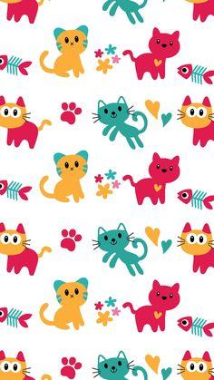 Cat Pattern Wallpaper, Wallpaper Wa, Wallpaper Keren, Emoji Wallpaper, Animal Wallpaper, Background Images Wallpapers, Wallpaper Backgrounds, Cat Background, Baby Scrapbook