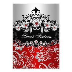 Sweet 16 Red Silver Black Floral Jewel Party Card
