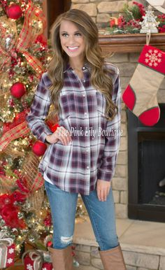 Plaidfully Yours Plum Blouse - The Pink Lily Boutique