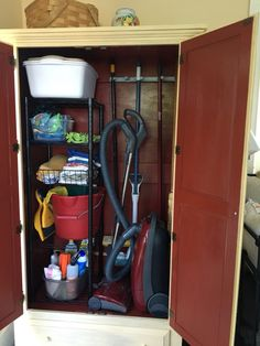 Armoire converted to cleaning cupboard Organizing Tips, Organization Hacks, Vacuum Cleaner Storage, Armoire Pantry, Cleaning Cupboard, Butler Pantry, Pantries, Entertainment Center, Storage Ideas