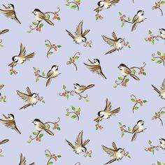 Forest Frolics Light Blue Birds Red Rooster