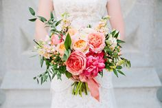 ... stunning summer wedding bouquet flowers coral wedding flowers coral garden rose coral silk ribbon coral charm ...