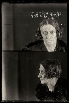 Vintage female criminal mug shots 1920s