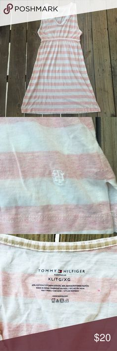 Tommy Hilfiger White/Peach Ruffled Nightgown Ties in the back at the waist. Size XL but fits more like a large, or oversized and comfy on a medium. ❌NO SWAPS/HOLDS❌ Cheaper on Depop (username @squidmaster). Tommy Hilfiger Intimates & Sleepwear Pajamas