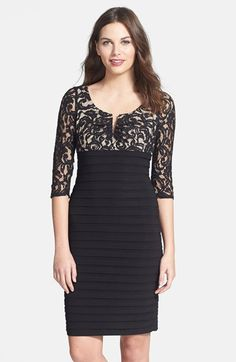 Free shipping and returns on Adrianna Papell Lace Bodice Shutter Pleat Sheath Dress at Nordstrom.com. A romantic lace overlay against the notched-neck, Empire-waist bodice artfully juxtaposes the banded pencil skirt of a mixed-media sheath dress.