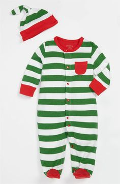 Offspring Stripe Footie & Hat Set (Infant) | Nordstrom