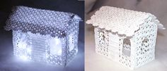 Lace crochet house decoration with lights. Create a decoration using hand crocheted lace or industrial lace. Hardened with glue or sugar. This crochet house decoration with LED lights inside is beautiful for Christmas time. Crochet Christmas Ornaments, Holiday Crochet, Crochet Home, Christmas Crafts, Diy Crochet, Hand Crochet, Christmas Time, Crochet Fairy, Crochet Dolls