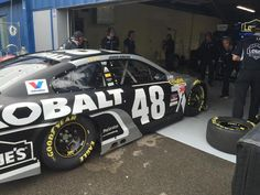 """Fresh off the track, @JimmieJohnson is back in the garage. Says the car feels a little """"bouncy"""" over bumps."""