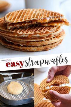 Cookie Desserts, Cookie Recipes, Dessert Recipes, Waffle Iron Cookies, Caramel Waffles, Stroopwafel Recipe, Caramel Recipes, Pancakes And Waffles, Pancake