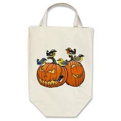 Jack O'Warbler Canvas Bag Trick-or-Treat bag for Halloween with Birdorable warblers on pumpkins