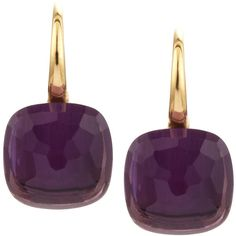 Pomellato Nudo 18k Gold Amethyst Earrings (7 585 BGN) ❤ liked on Polyvore featuring jewelry, earrings, earring jewelry, 18 karat gold jewelry, yellow gold amethyst earrings, 18k earrings and hook earrings