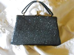 Vintage Black Sequined Clutch purse with by TwinsTreasureTrove, $15.00