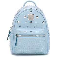 MCM Stud-Embellished Backpack ($1,236) ❤ liked on Polyvore featuring bags, backpacks, blue, blue bag, leather rucksack, studded backpack, blue leather backpack and leather studded backpack