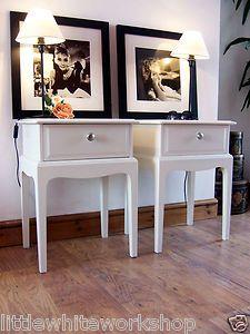 "STAG BEDSIDE ""Leggy"" TABLES chic vintage side end hallway cabinet drawers shabby | eBay"