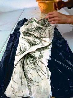 Pine needles print with iron mordant