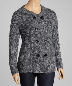 Take a look at this Black Marled Hooded Sweater - Plus by Carol Rose on #zulily today!