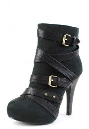 Ermera23 Wrapped Strap Ankle Boots BLACK