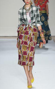Stella Jean Printed Wax Cotton Peplum Skirt-cool combo.
