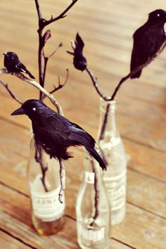 Black Crow Centerpiece in Vintage Soda Bottles for Halloween. Would look great in colored bottles or mason jars too!