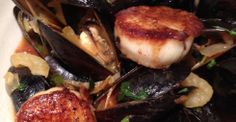 Mussels and Seared Scallops, Fennel, Shallots and white wine - Chef Deborah Gorman