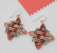 Backstory Beads Day 28 - Starlight Knot earrings in sterling silver and glass seed beads, from a tutorial by Gwen Fisher.