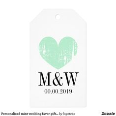 Personalized mint wedding favor gift tag template pack of gift tags