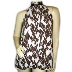 USA MADE NEW CHARLOTTE RUSSE Womans WHITE BROWN Graphic HALTER TOP BLOUSE $28.98  http://stores.ebay.com/Tropical-FEEL