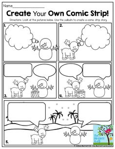 FUN-Filled Learning with NO PREP! Create Your Own Comic Strip! This is such a FUN way to get second grade students writing creatively!Create Your Own Comic Strip! This is such a FUN way to get second grade students writing creatively! Work On Writing, Writing Workshop, Teaching Writing, Writing Activities, Classroom Activities, Preschool Bulletin, Writing Comics, Writing Ideas, Creative Writing