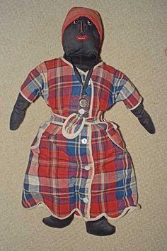 Antique Black Native American Cloth Nurse Doll Turn of Century