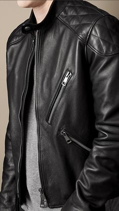 Burberry Brit Quilt Detail Leather Biker Jacket
